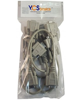Five Pack of YCS Basics 1 Foot DB9 9 Pin Serial RS232 Male Female Extension Cables