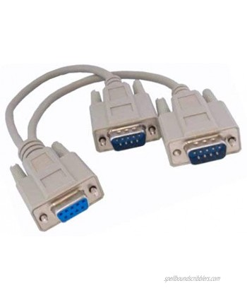 KENTEK 6 Inch in DB9 Female to 2X DB9 Male Extension Y Splitter Cable Cord 9 Pin Serial RS-232 28 AWG Female to 2X Male F Mx2 Molded Straight-Through D-Sub Port Beige for PC Mac Linux Data