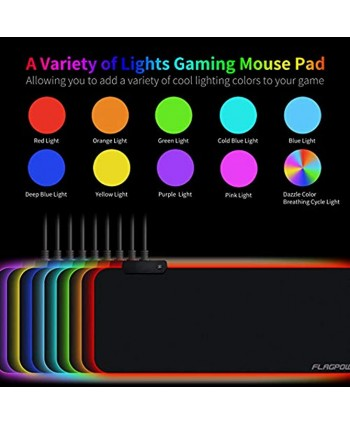 FLAGPOWER RGB Gaming Mouse Pad Soft Large Extended LED Mouse Pad Oversized Glowing Computer Keyboard Pad Mat Non-Slip Rubber Base Waterproof Mousepad Optimized for Gamer Office 800 x 300mm