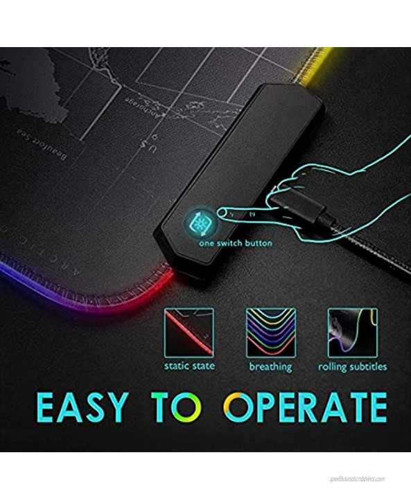 RGB Gaming Mouse Pad 31.5 X 12in Large LED Mousepad with 11 Lighting Modes Soft Non-Slip Rubber Base Mouse Mat for Computer Desk Keyboard Waterproof XL Gaming Mousepad.