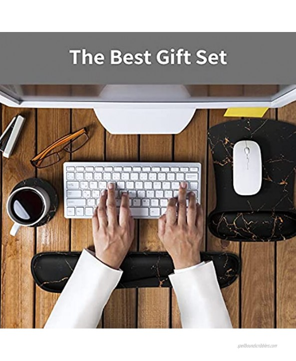 Ergonomic Mouse Pad Wrist Support & Keyboard Set Memory Foam Non-Slip Rubber Base Cute Mouse Mat Coaster for Home,Computer,Office Easy Typing and Relieve Wrist Pain Black Marble