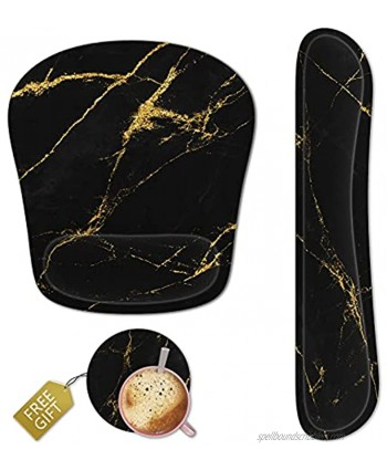 Keyboard Wrist Rest Memory Foam Ergonomic Mouse Pad with Computer Wrist Support Set with Non-Slip Rubber Base Coaster for Home Office Easy Typing and Pain Relief Black Marble