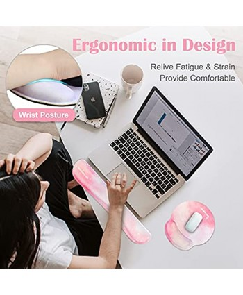 Keyboard Wrist Rest Mouse Pad Wrist Support Set INNÔPLUS Pink Desk Accessories Ergonomic Mouse Pad with Non-Slip Rubber Base and Raised Memory Foam Support for Office Computer Laptop Mac.