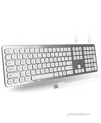 X9 Performance Wired Keyboard for Laptop or Desktop Plug and Play USB Keyboard with USB Port x2 Convenient Full Size Computer Keyboard Wired with 17 Shortcuts Designed for Windows PC
