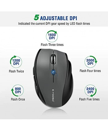 Wireless Mouse E-YOOSO Computer Mouse 5 Adjustable DPI 6 Buttons Cordless Mouse Wireless Optical Mice with USB Nano Receiver 2.4G Portable Ergonomic Wireless Mouse for Laptop Windows Mac Office PC