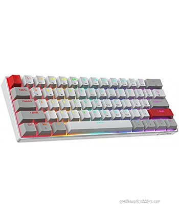 NEWMEN GM610 60% Wireless Mechanical Gaming Keyboard 61 Keys Bluetooth Mechanical Keyboard NKRO with Extra Keycap Set RGB Backlit Hot Swappable Switches for Windows Mac Android Red Switch