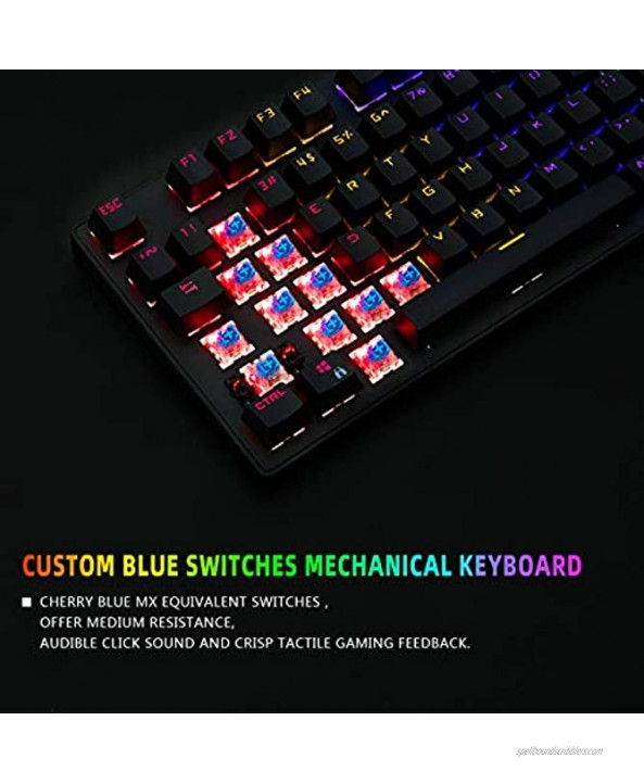 TKL Mechanical Keyboard Blue Switch CHONCHOW 87 Keys Mechanical Gaming Keyboard RGB Keyboard LED Light Up Rainbow Backlit Keyboard Blue Switch Mechanical Keyboard for PS4 Xbox PC Gamer
