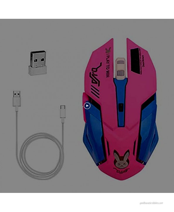Gaming Mouse,7 Colors Backlit Optical Game Mice Ergonomic USB Wired with 2400 DPI and 6 Buttons 4 Shooting with Nano Receiver for Computer Win Mac Linux Andriod iOS,Pink.