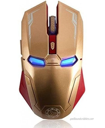 Gaming Wireless Mouse Six-Button Silent Iron Man Mouse 2.4G with USB Nano Receiver for Laptop and PC Gold