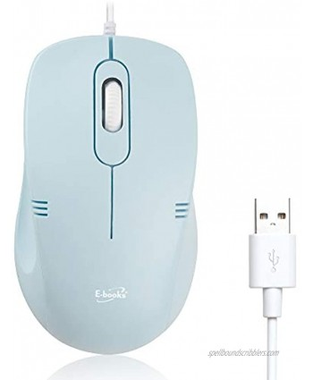 M46 Silent Plus Wired Mouse 95% Less Click Noise Ergonomic Right Left Hand Shape 1000 DPI 3 Button Power Saving for Office Gaming Windows macOS Blue