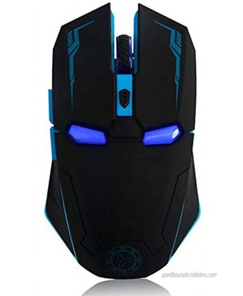 Wireless Gaming Mouse Iron Man Game Mice 2.4G with USB Nano Receiver for PC,Laptop,Computer MacBook,Notebook,3 DPI Adjustment Levels-Black