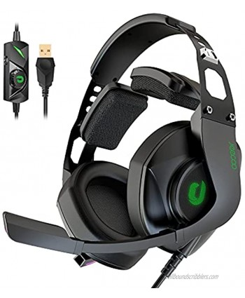 Jeecoo J65 USB Gaming Headset for PC 7.1 Surround Sound Heavy Bass Headphones with Unique Cushion Pads Clear and Crystal Microphone Plug & Play for Laptop Computers