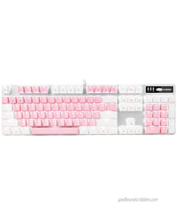 Mechanical Gaming Keyboard MageGee 2021 New Upgraded Blue Switch 104 Keys White Backlit Keyboards USB Wired Mechanical Computer Keyboard for Laptop Desktop PC GamersWhite & Pink