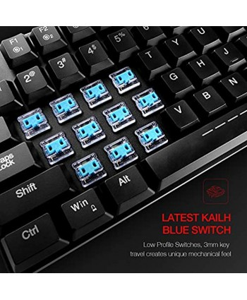 Mechanical Keyboard HAVIT RGB Backlit Wired Gaming Keyboard Extra-Thin & Light Kailh Latest Low Profile Blue Switches 104 Keys N-Key Rollover HV-KB395L Black