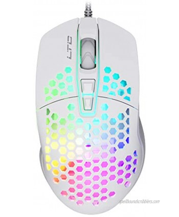 LTC Circle Pit HM-001 RGB Gaming Mouse with Lightweight Honeycomb Shell Adjusted 6400DPI 6 Programmable Buttons White