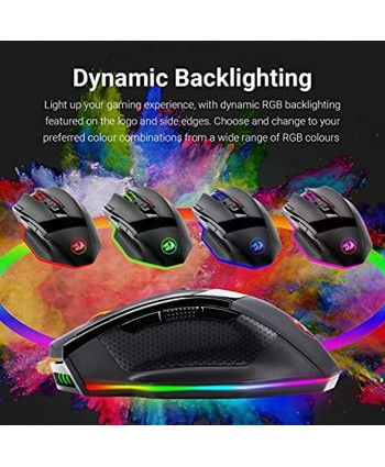 Redragon M801 PC Gaming Mouse LED RGB Backlit MMO 9 Programmable Buttons Mouse with Macro Recording Side Buttons Rapid Fire Button for Windows Computer Gamer Wireless Black
