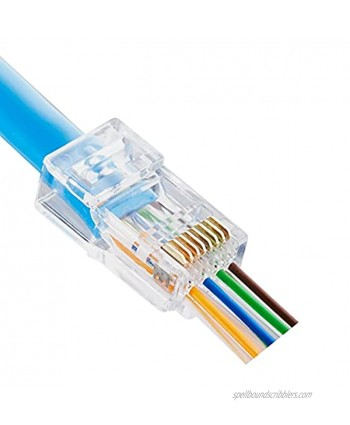 50pcs RJ45 Pass Through Connectors 23AWG CAT6 CAT6A Pass Through Connectors Ends Gold Plated Ethernet Network Cable Plug for Large 23AWG Cat6 Cable