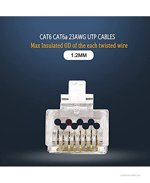 AOWIZ RJ45 Cat6 Cat6a Pass Through Connector 23AWG Ethernet Cable Ends for Solid Wire & Standard UTP Cable 50-Pack