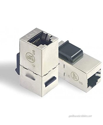 LEENUE 15-Pack Cat6 Shielded Inline Modular Coupler with Keystone Latch Female to Female RJ45 Connectors for Panel Connection