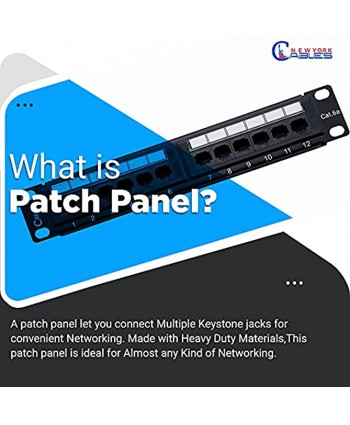 NewYorkCables 24 Port Cat6A Patch Panel with Back Bar Cable Ties & Screws   1U Rackmount or Wall Mount Ethernet Punch Panel   19 Inch Horizontal   RJ45 Network Patch Panel
