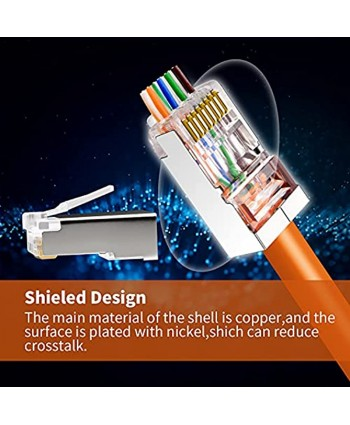 Shield RJ45 Cat6 Cat6a Pass Through Connectors Gold Plated 8P8C Plugs Network shielded Ends for 23AWG Twisted Pair Solid Wire & Standard Cables50Packs