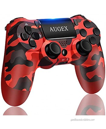 AUGEX Remote Compatible for P-4 Controller Wireless Controller Work with P-4,with Two Motors Stereo Headset Jack Touch Pad Control,Compatible with P-4 Slim Pro Console Red