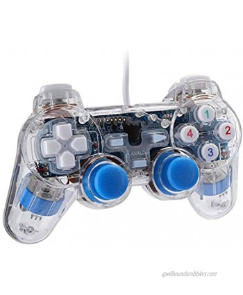 Demeras Blue Light Sturdy Game Console Controller Wired Transparent Game Controller for PS2 PC Computer