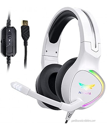 Nivava K12 White Gaming Headset for PC PS5 7.1 Surround Sound PS4 Headset with Noise Cancelling Microphone Over-Ear Headphone with Soft Memory Earpads RGB LED Lights for Computer Laptop MacWhite