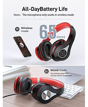 65Hrs Bluetooth Headphones Bluetooth 5.0 Headphones Over Ear HiFi Sound Built-in Microphone Memory-Protein Earmuffs Wireless Wired Headset for Home Office Online Class Phone TV