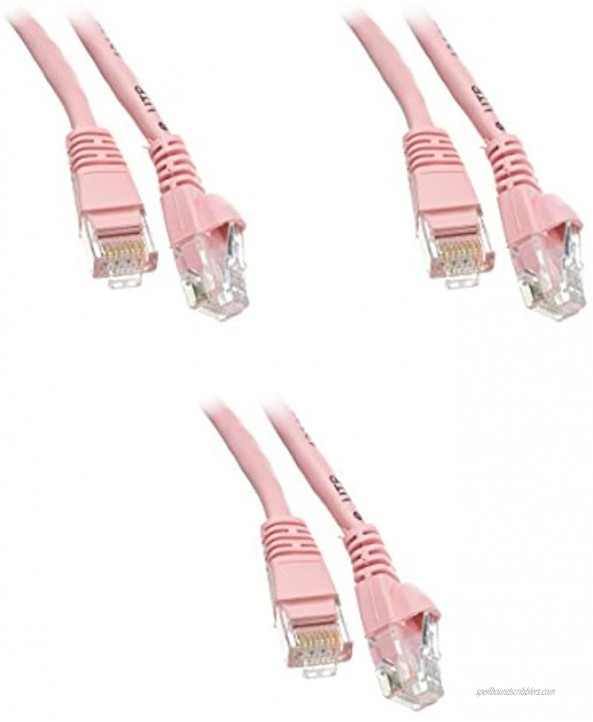 1.5 Foot Cat 5e Snagless Molded Boot Pink Ethernet Patch Cable 3-Pack CNE51847