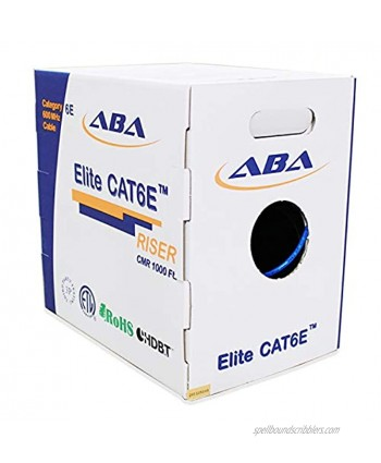 CAT6E Riser CMR 1000ft UTP 24AWG Solid Bare Copper 600MHz UL Certified Easy to Pull Reelex II Box Bulk Ethernet Cable in Blue