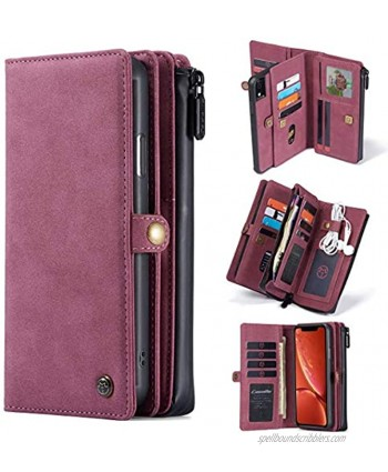 CaseMe iPhone XR Wallet Case Durable Handmade PU Leather 2-in-1 Detachable Magnetic Flip Phone Case for iPhone XR Case Wallet with 15 Card Holder Slots Zipper Pouch for Women Men 6.1 inch Red