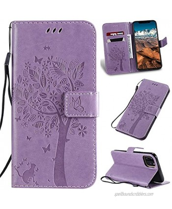 iPhone 11 Case with Screen Protector,iPhone 11 Wallet Case,Flip Case PU Leather Emboss Tree Cat Flowers Folio Magnetic Kickstand Cover Card Slots for iPhone 11 Light Purple