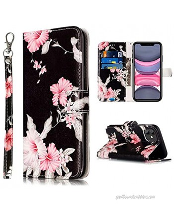 JanCalm Compatible with iPhone 11 Wallet Case Floral Pattern Premium PU Leather [Wrist Strap] [Card Cash Slots] Stand Feature Flip Cases Cover for iPhone 11 Case Wallet Black Flower