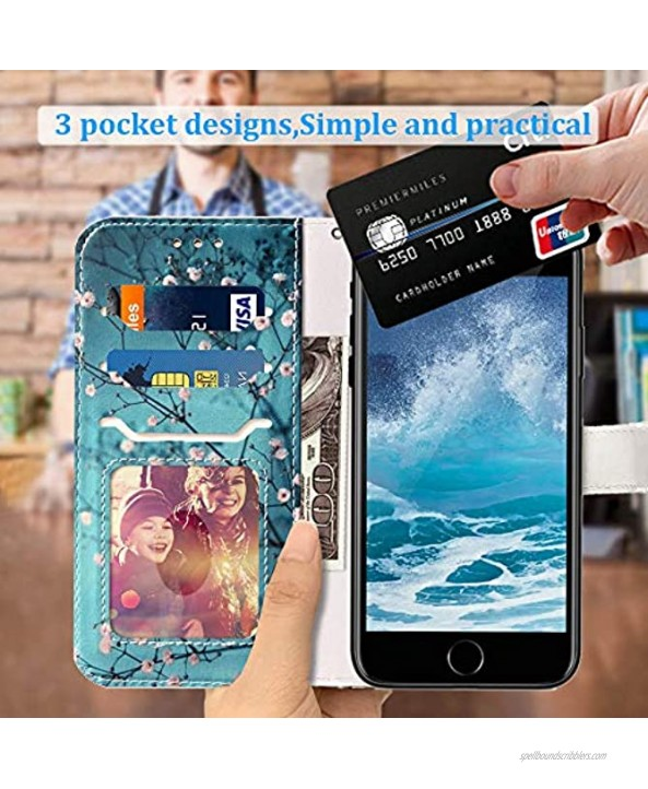 JanCalm Compatible with iPhone 8 Wallet Case,iPhone 7 Case,iPhone SE 2020 Case,iPhone 6 6S Case Pattern PU Leather [Wrist Strap] [Card Holder Cash Slots] Stand Feature Flip Cover Plum Blossom