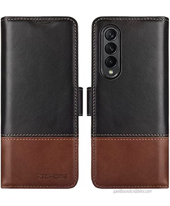 KEZiHOME Samsung Galaxy Z Fold 3 5G Case Genuine Leather Galaxy Z Fold 3 Wallet Case [RFID Blocking] with Card Slot Flip Phone Magnetic Cover Compatible with Galaxy Z Fold 3 2021 Black Brown
