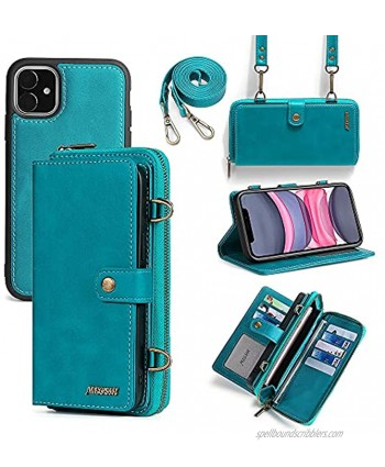 Misscase iPhone 11 Wallet Case,iPhone 11 Case with Card Holder,Multi-Function Wallet Case,2 in 1 Detachable Magnetic Wallet Case with Card Holder,PU Leather Flip Cover with Lanyard,13 Card Slots Blue