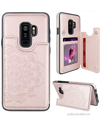 """MMHUO for Samsung Galaxy S9 Plus Case with Card Holder,Flower Magnetic Back Flip Case for Samsung Galaxy S9+ Wallet Case for Women,Protective Case Phone Case for Samsung Galaxy S9 Plus 6.2"""",Rose Gold"""