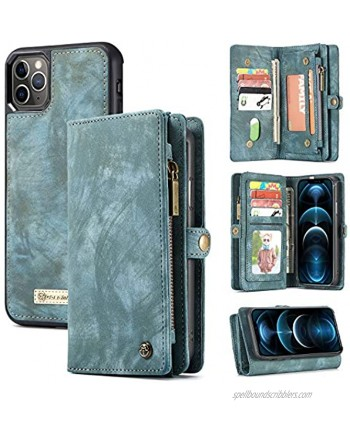 Zttopo Wallet case Compatible with iPhone 12 Pro Max 2 in 1 Leather Zipper Detachable Magnetic 11 Card Slots Card Slots Money Pocket Cover with Screen Protector Case Wallet 6.7 Inch Blue-Green