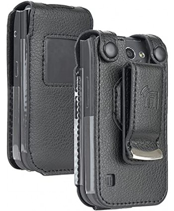 Case for Nokia 2720 V Flip Phone Nakedcellphone [Black Vegan Leather] Form-Fit Cover with [Built-in Screen Protection] and [Metal Belt Clip]