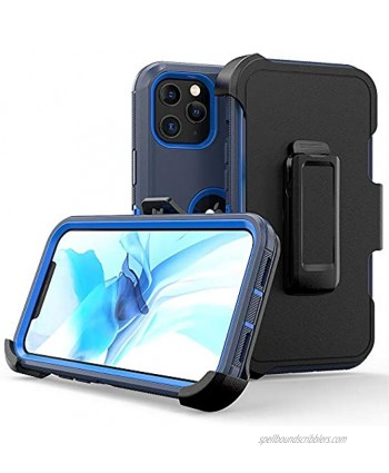 Compatible with iPhone 12 Pro Max Case,Heavy Duty Hard Shockproof Armor Protector Case Cover with Belt Clip Holster for Apple iPhone 12 6.7 5G 2020 Phone Case Navy Blue