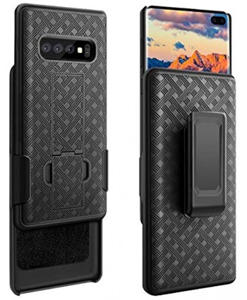 Galaxy S10 Plus Case Fingic S10 Plus Combo Shell Holster Case Slim Fit Shell with Swivel Belt Clip Holster Bulit-in Kickstand Protective Cover for Samsung Galaxy S10 Plus 6.4 inch Black