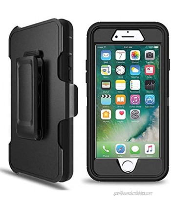 LTifree Defender Case for iPhone 7 Plus iPhone 8 Plus Case with Belt ClipONLY. Kickstand Holster Heavy Duty Built in Screen Protector-Black