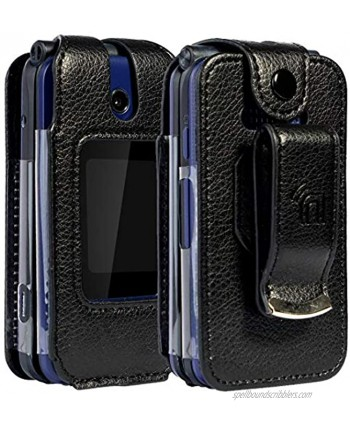Nakedcellphone [Black Vegan Leather] Form-Fit Case Cover with [Built-in Screen Protection] and [Metal Belt Clip] for Cricket Debut Flip U102AC AT&T Cingular Flip 4 Phone U102AA