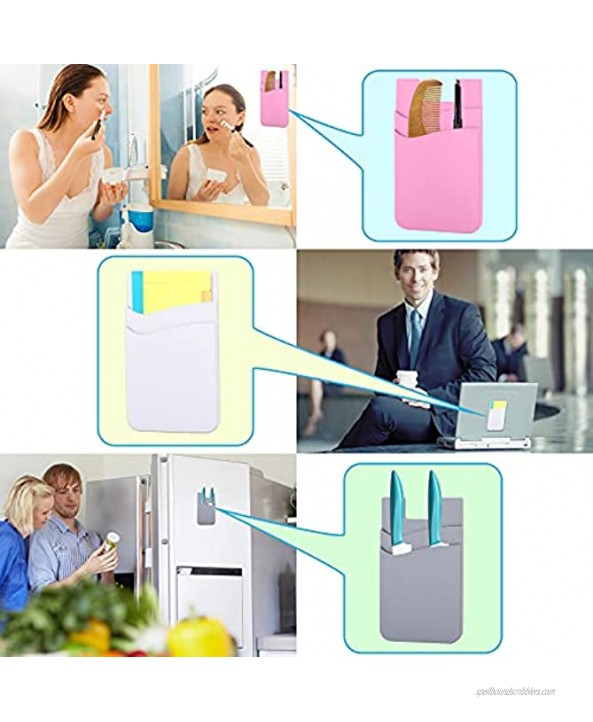 4 Pack Phone Card Holder,Phone Wallet Stick On Credit Card Holder,Silicone Cell Phone Card Holder for Phone Case,Phone Pocket for Back of Phone,Cell Phone Wallet Compatible with Most Smartphones