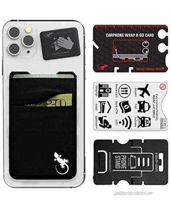 Double Pocket Gecko Phone Wallet Smartphone Adhesive Card Holder Cell Phone Pouch Mobile Stick on Lycra Pocket by Gecko Carry Credit Cards and Cash – Black-White
