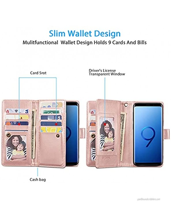 EYZUTAK Mandala Wallet Case for Samsung Galaxy S9,Detachable 2 in 1 PU Leather Flip Case with Magnetic Button Lanyard 9Card Slots+3Pockets+1Driver's License Pocket-Rose Gold