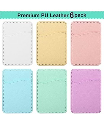 Frienda 6 Pieces Phone Card Pocket Holder Phone Card Stick PU Leather Cell Phone Card Pocket ID Credit Card Wallet Phone Case Pouch for Back of Phone Compatible with Most Smartphones Light Color