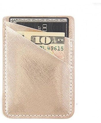Obbii Rose Gold PU Leather Card Holder for Back of Phone with 3M Adhesive Stick-on Credit Card Wallet Pockets for iPhone and Android Smartphones
