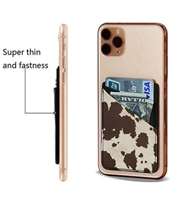 Phone Card Holder Cow Fur Print Premium Leather Phone Card Holder Stick On Wallet for Back of iPhone,Android and All Smartphones